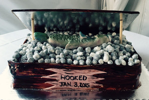 Fishing tackle box grooms cake