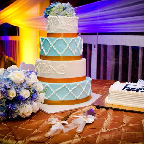 Gold and Turquoise Wedding Cake