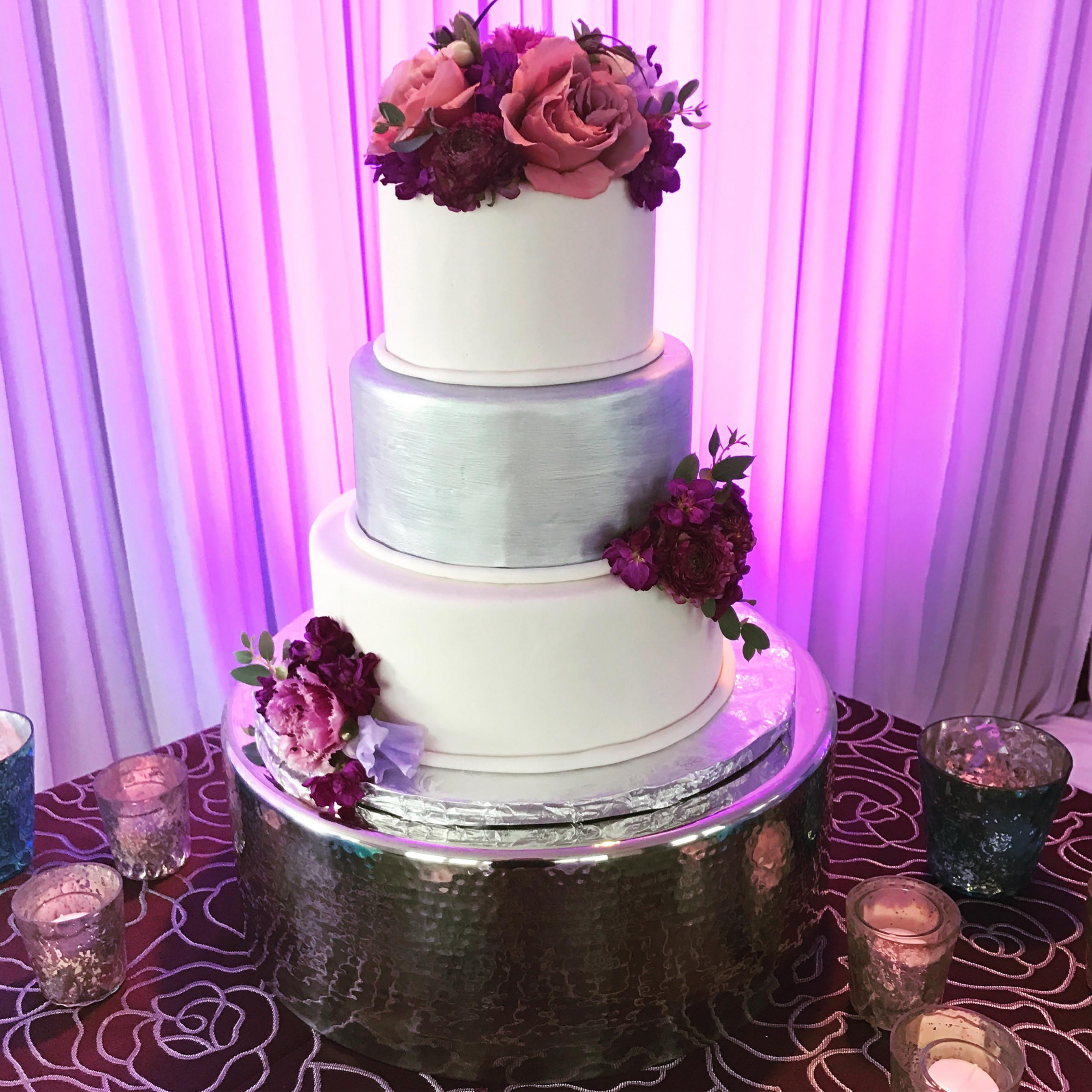Purple and Silver Wedding Cake | A Piece of Cake - Wedding Cake ...