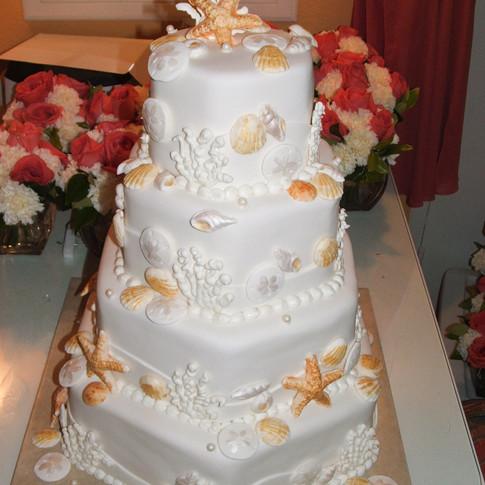 Florida Beach Seashell Wedding Cake