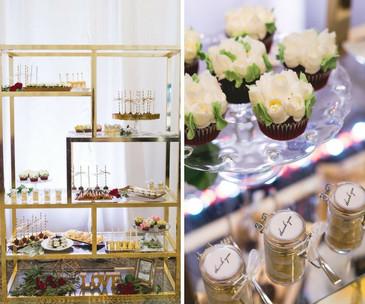 Gold wedding dessert table