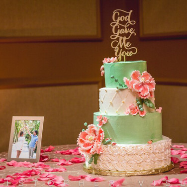 Coral and Mint Wedding Cake