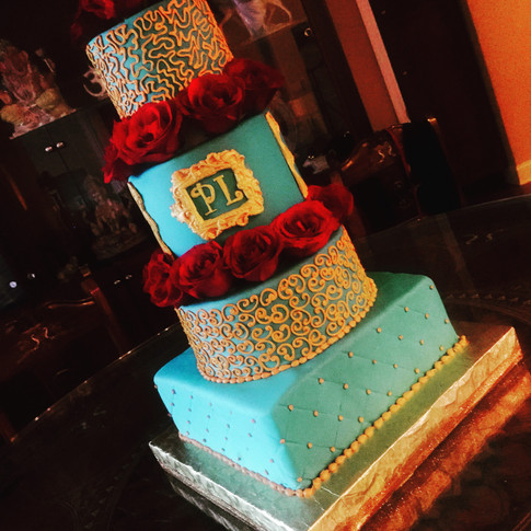 Turquoise and Gold Indian Wedding Cake