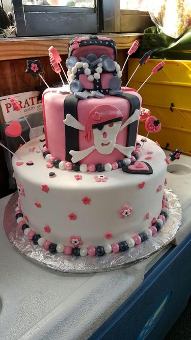 Pink Pirate birthday cake