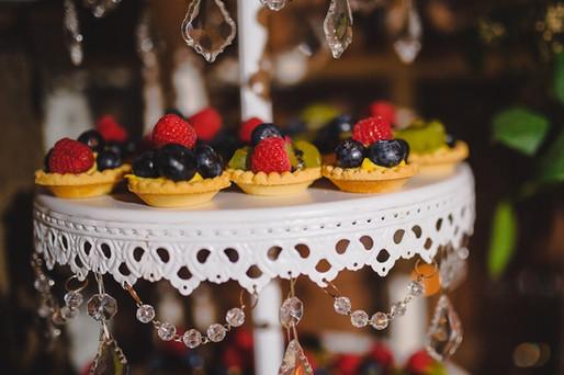 Fruit tart wedding dessert table