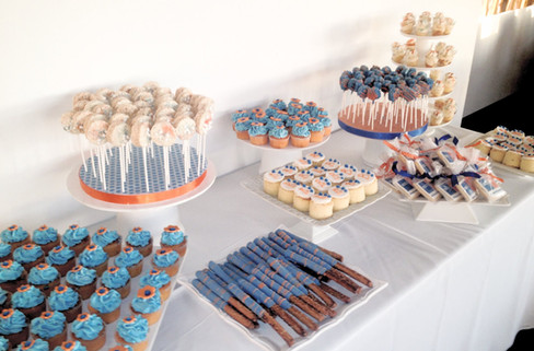 Blue and orange dessert table