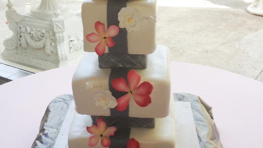 Pink Plumeria Wedding Cake