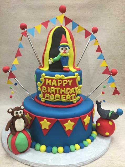 Circus first birthday cake