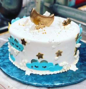 Moon baby shower cake