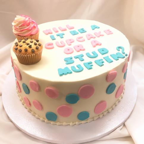 Cupcake or Stud Muffi Gender Reveal Cake