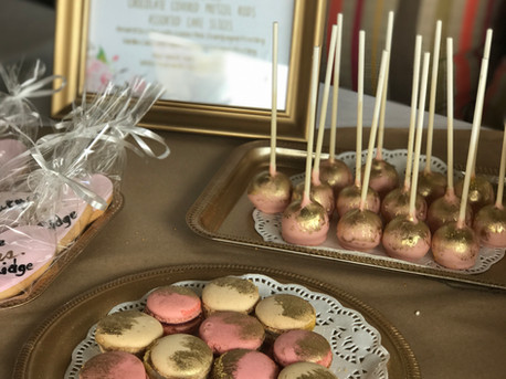 Pink and gold bridal shower desserts