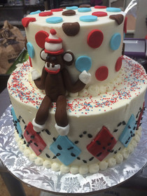 Sock Monkey birthday cake