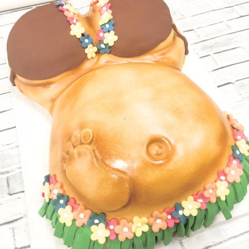 Pregnant belly shower cake