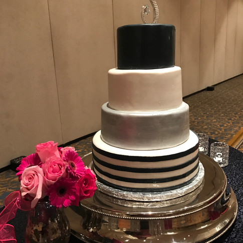 Navy Blue and Silver Wedding Cake