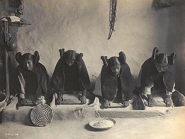 Edward S Curtis Hopi Girls Grinding Piki