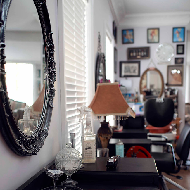 hairdresser shop with vintage style