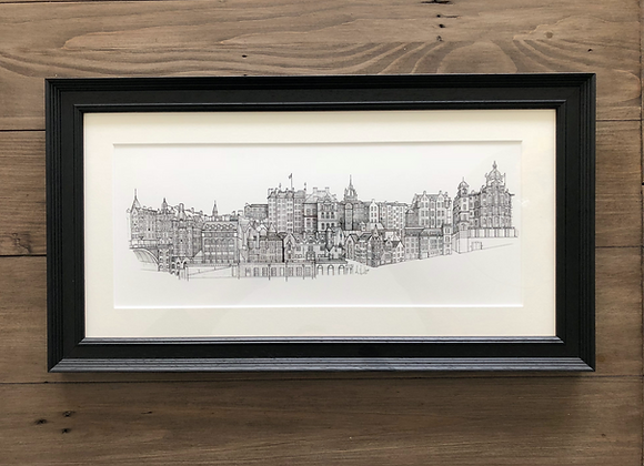 Old Town - Edinburgh Skyline (Framed Print)