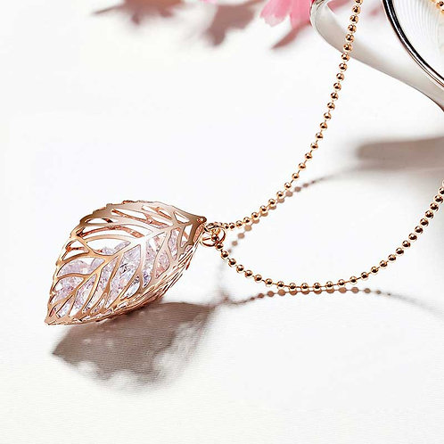 Rose Gold Necklace with three leaves holding loose CZ Diamonds