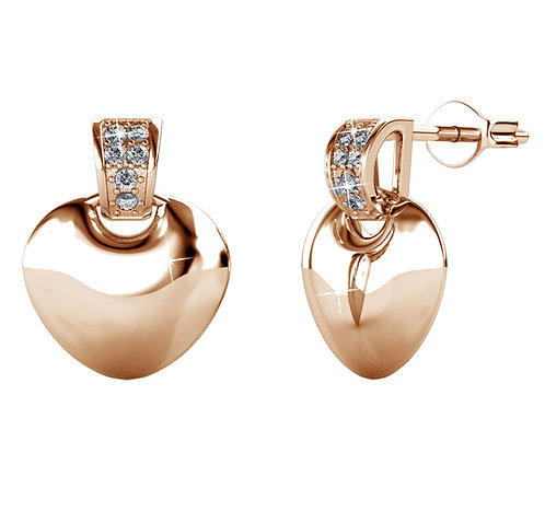 Rose Gold Earring hearts with Swarovski crystals
