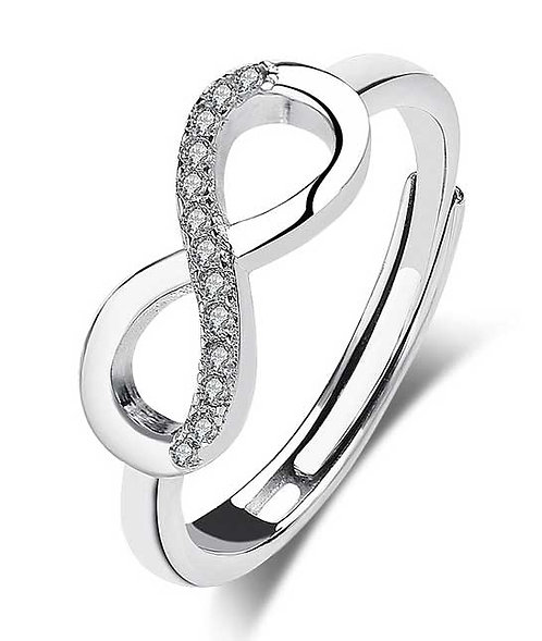 Sterling Silver adjustable ring with CZ diamonds - infinity
