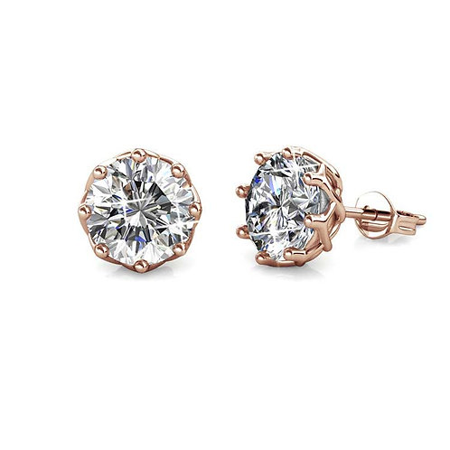 Rose Gold Stud Earrings with Swarovski Crystals