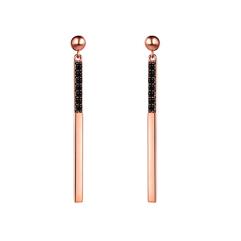 Rose-gold plated bar earrings with black CZ diamonds