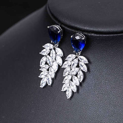Drop Earrings with CZ Diamonds