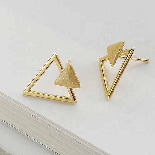 18K gold plated geometric stud earrings