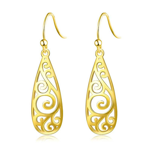 14K Gold plated earrings on 925 Sterling Silver with Koru design