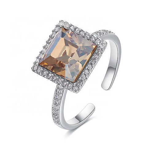 Dress Ring - 925 Sterling Silver plated with large Swarovski crystal