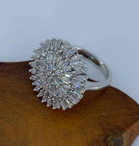 Dress ring - Silver Rhodium Plating - CZ Diamonds -  Size 8