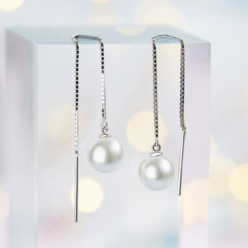 Pearl threader earrings with sterling silver chain