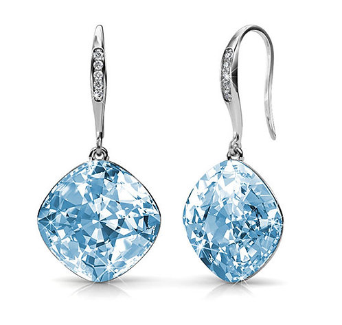 18K White Gold Earrings with Blue Swarovski crystals