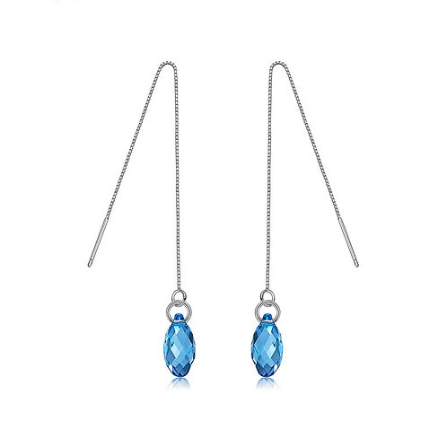 925 Sterling Silver plated threader earrings with Swarovski
