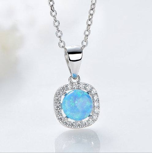 Blue Opal necklace - 925 Sterling Silver Plated