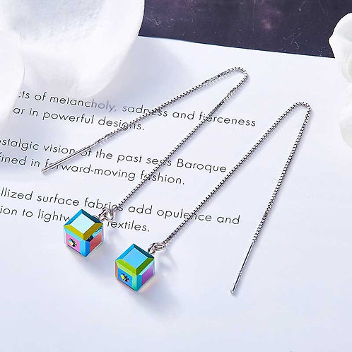 925 Sterling silver plated threader earrings with Swarovski crystals