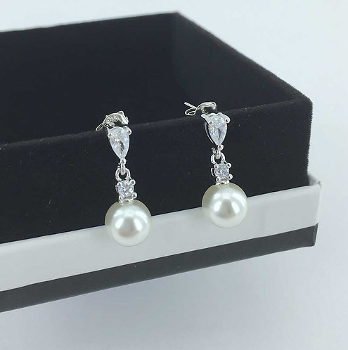 Sterling Silver plated Pearl Stud Earrings with CZ Diamonds