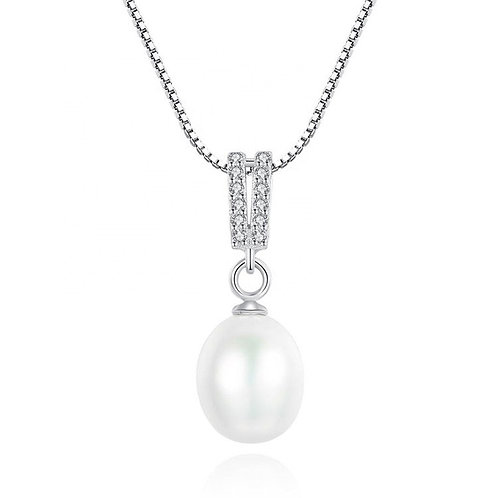 Silver plated necklace with Pearl and Swarovski