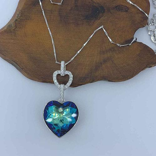 Swarovski heart  Necklace set in 925 Sterling Silver