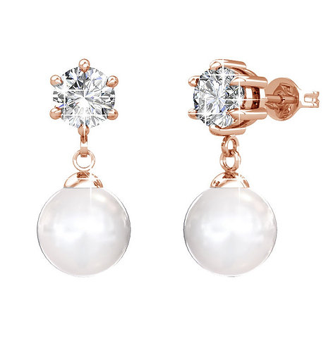 Pearl Drop Earrings with Swarovski Crystals and Pearls
