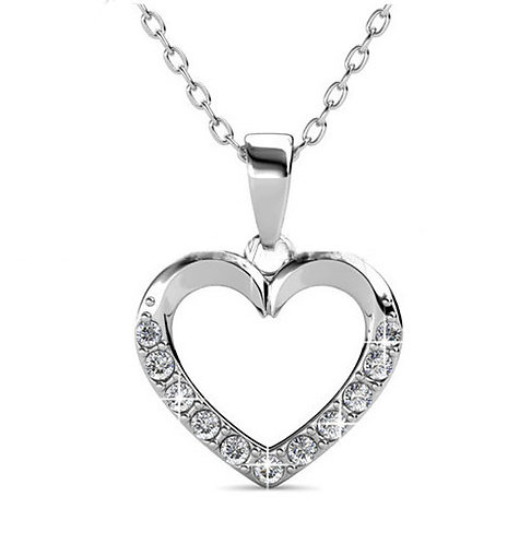 Heart Shaped necklace in18K white gold with Swarovski crystals