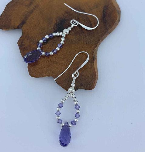 Sterling Silver drop earrings with amethyst Swarovski