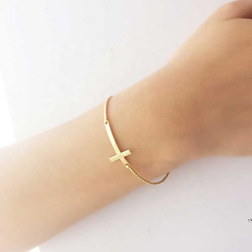 18K Gold plated bracelet chain and cross over 925 Sterling Silver