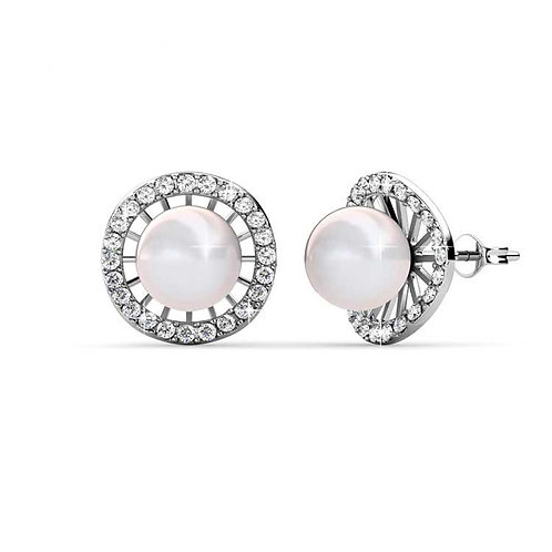 18K white gold pearl earrings framed with Swarovski crystals