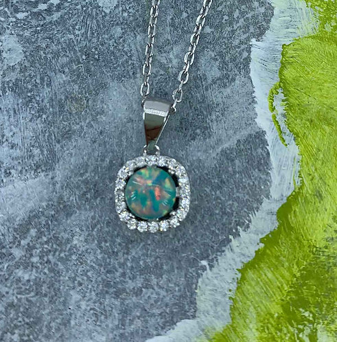 Green Opal necklace - 925 Sterling Silver Plated
