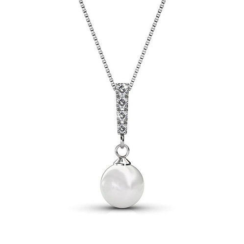 18K White Gold plated Necklace with Swarovski crystals