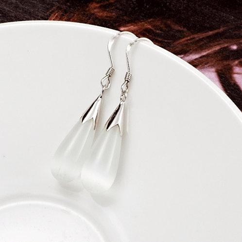 925 Sterling Silver drop earrings with Cat's Eye stone