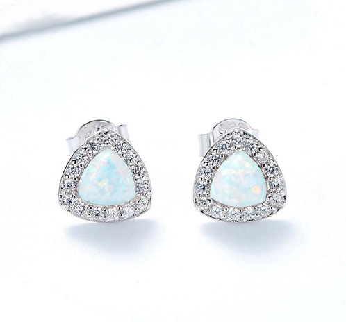 Opal stud earrings with Swarovski crystals on 925 Sterling Silver