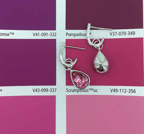 925 Sterling Silver plated earrings with pink Swarovski crystals