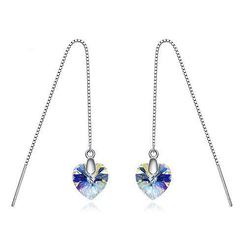 925 Sterling Silver Threader earrings with Swarovski